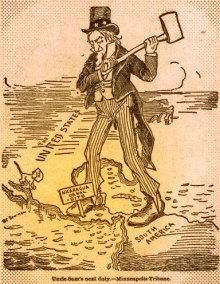 1895 political cartoon advocating US action to build a Nicaragua Canal.