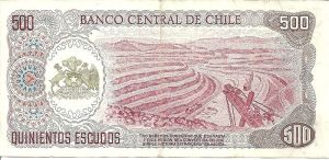 An old Chilean bank note depicting copper mining.